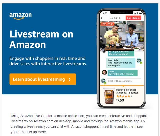 amazon предоставил продавцам возможность делать онлайн-трансляции